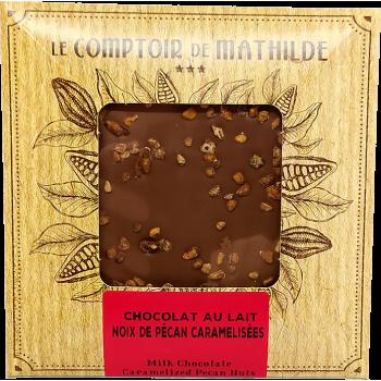 Tablette Chocolat au lait Noix de pécan caramélisées - 80g