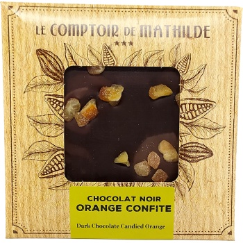 Tablette Chocolat noir orange confite - 80g