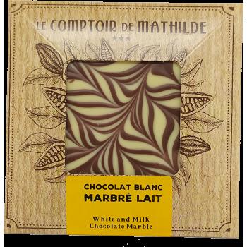 Tablette Chocolat blanc marbré lait - 80g