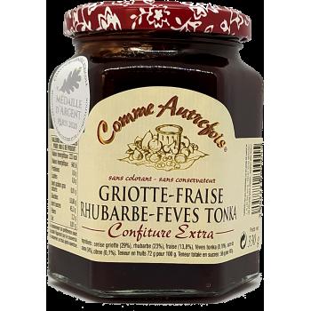 Confiture Griotte, fraise, rhubarbe et fèves de tonka - 330g